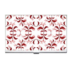 Floral Print Modern Pattern In Red And White Tones Business Card Holder by dflcprints
