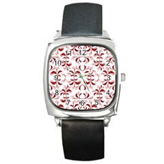 Floral Print Modern Pattern In Red And White Tones Square Leather Watch by dflcprints