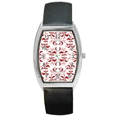 Floral Print Modern Pattern In Red And White Tones Tonneau Leather Watch by dflcprints