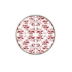 Floral Print Modern Pattern In Red And White Tones Golf Ball Marker 4 Pack (for Hat Clip)