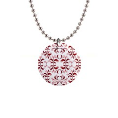Floral Print Modern Pattern In Red And White Tones Button Necklace by dflcprints
