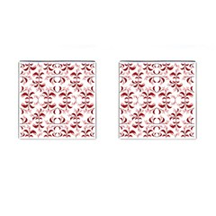 Floral Print Modern Pattern In Red And White Tones Cufflinks (square) by dflcprints