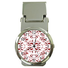 Floral Print Modern Pattern In Red And White Tones Money Clip With Watch by dflcprints