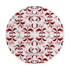 Floral Print Modern Pattern In Red And White Tones Round Ornament (two Sides) by dflcprints