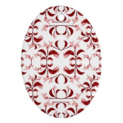 Floral Print Modern Pattern In Red And White Tones Oval Ornament (two Sides) by dflcprints