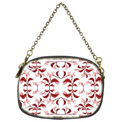 Floral Print Modern Pattern In Red And White Tones Chain Purse (one Side) by dflcprints