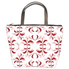 Floral Print Modern Pattern In Red And White Tones Bucket Handbag by dflcprints