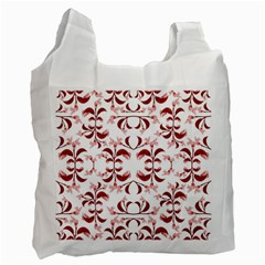 Floral Print Modern Pattern In Red And White Tones White Reusable Bag (one Side) by dflcprints
