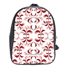 Floral Print Modern Pattern In Red And White Tones School Bag (large)