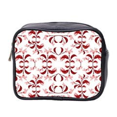Floral Print Modern Pattern In Red And White Tones Mini Travel Toiletry Bag (two Sides) by dflcprints