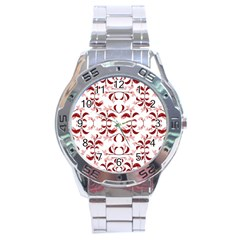 Floral Print Modern Pattern In Red And White Tones Stainless Steel Watch by dflcprints