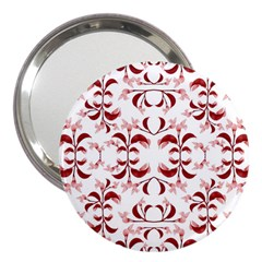 Floral Print Modern Pattern In Red And White Tones 3  Handbag Mirror by dflcprints