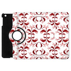 Floral Print Modern Pattern In Red And White Tones Apple Ipad Mini Flip 360 Case by dflcprints