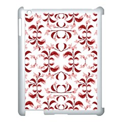 Floral Print Modern Pattern In Red And White Tones Apple Ipad 3/4 Case (white) by dflcprints