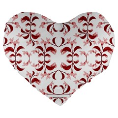 Floral Print Modern Pattern In Red And White Tones 19  Premium Heart Shape Cushion by dflcprints