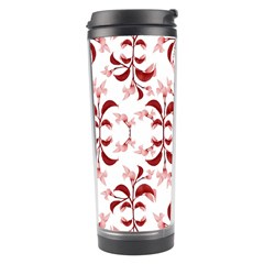 Floral Print Modern Pattern In Red And White Tones Travel Tumbler by dflcprints