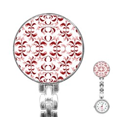 Floral Print Modern Pattern In Red And White Tones Stainless Steel Nurses Watch by dflcprints