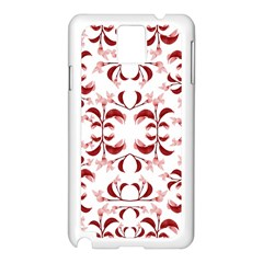 Floral Print Modern Pattern In Red And White Tones Samsung Galaxy Note 3 N9005 Case (white) by dflcprints