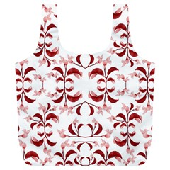 Floral Print Modern Pattern In Red And White Tones Reusable Bag (xl) by dflcprints