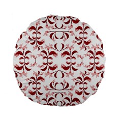 Floral Print Modern Pattern In Red And White Tones 15  Premium Flano Round Cushion  by dflcprints