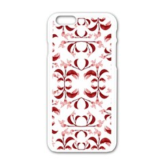 Floral Print Modern Pattern In Red And White Tones Apple Iphone 6 White Enamel Case by dflcprints