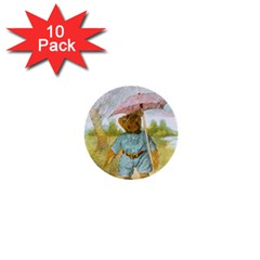 Vintage Drawing: Teddy Bear In The Rain 1  Mini Button (10 Pack) by MotherGoose