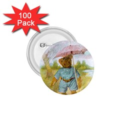 Vintage Drawing: Teddy Bear In The Rain 1 75  Button (100 Pack) by MotherGoose