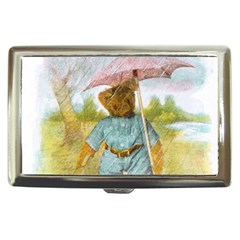 Vintage Drawing: Teddy Bear In The Rain Cigarette Money Case by MotherGoose