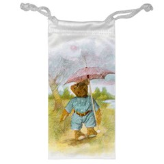Vintage Drawing: Teddy Bear In The Rain Jewelry Bag by MotherGoose