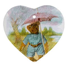 Vintage Drawing: Teddy Bear In The Rain Heart Ornament (two Sides) by MotherGoose