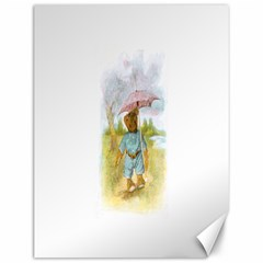 Vintage Drawing: Teddy Bear In The Rain Canvas 12  X 16  (unframed) by MotherGoose