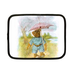 Vintage Drawing: Teddy Bear In The Rain Netbook Sleeve (small) by MotherGoose