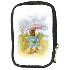 Vintage Drawing: Teddy Bear In The Rain Compact Camera Leather Case by MotherGoose