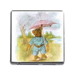 Vintage Drawing: Teddy Bear In The Rain Memory Card Reader With Storage (square) by MotherGoose