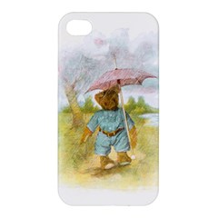 Vintage Drawing: Teddy Bear In The Rain Apple Iphone 4/4s Premium Hardshell Case by MotherGoose