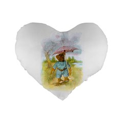 Vintage Drawing: Teddy Bear In The Rain 16  Premium Heart Shape Cushion  by MotherGoose