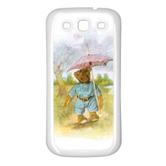 Vintage Drawing: Teddy Bear In The Rain Samsung Galaxy S3 Back Case (white) by MotherGoose