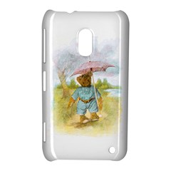 Vintage Drawing: Teddy Bear In The Rain Nokia Lumia 620 Hardshell Case by MotherGoose