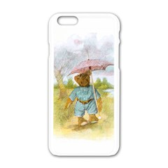 Vintage Drawing: Teddy Bear In The Rain Apple Iphone 6 White Enamel Case by MotherGoose