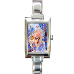 Magic Flower Rectangular Italian Charm Watch by icarusismartdesigns