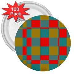 Squares in retro colors 3  Button (100 pack) by LalyLauraFLM