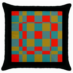 Squares In Retro Colors Throw Pillow Case (black) by LalyLauraFLM