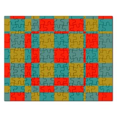 Squares In Retro Colors Jigsaw Puzzle (rectangular) by LalyLauraFLM