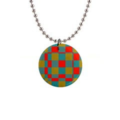 Squares In Retro Colors 1  Button Necklace by LalyLauraFLM