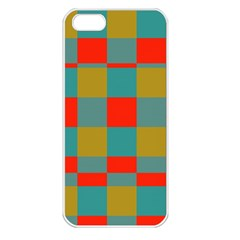 Squares In Retro Colors Apple Iphone 5 Seamless Case (white) by LalyLauraFLM