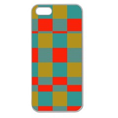 Squares In Retro Colors Apple Seamless Iphone 5 Case (clear) by LalyLauraFLM