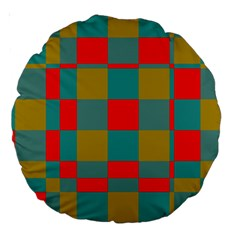 Squares In Retro Colors 18  Premium Round Cushion  by LalyLauraFLM