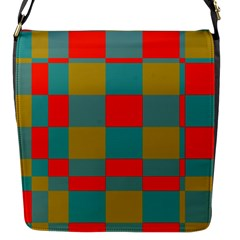 Squares In Retro Colors Flap Closure Messenger Bag (small) by LalyLauraFLM