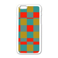 Squares In Retro Colors Apple Iphone 6 White Enamel Case by LalyLauraFLM