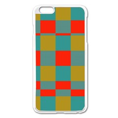 Squares In Retro Colors Apple Iphone 6 Plus Enamel White Case by LalyLauraFLM